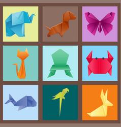 animals origami set japanese folded modern vector image