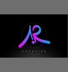 Ar artistic brush letter logo handwritten vector