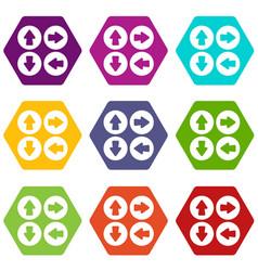arrow set icon set color hexahedron vector image