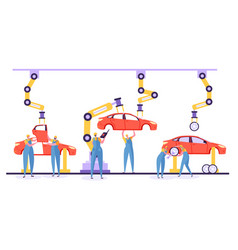 automated assembly line car production concept vector image