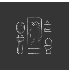 Bathroom Drawn in chalk icon vector image