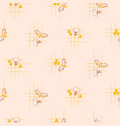 bee and honey flowers seamless pattern vector image