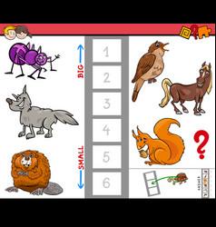 Big and small animals cartoon activity game vector
