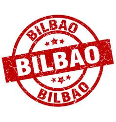 bilbao red round grunge stamp vector image