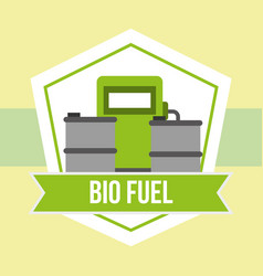 biofuel station barrels alternative emblem vector image