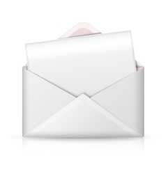 Blank realistic white opened envelope and vector image
