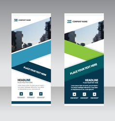 Blue green triangle Business Roll Up Banner flat vector