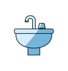 blue shading silhouette of washbasin icon vector image