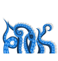 Blue tentacles octopus underwater marine animal vector