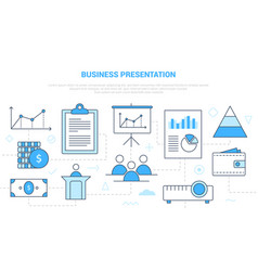 Business presentation concept with icon set vector