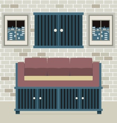 Cabinet Seat With Wall Cabinet vector image