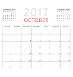calendar planner 2017 october week starts monday vector image