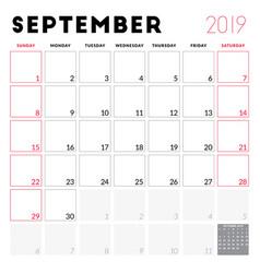 Calendar planner for september 2019 week starts vector