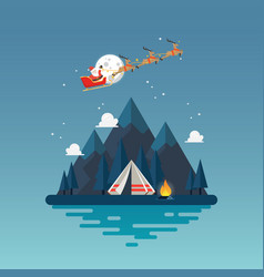 camping tent with landscape at night vector image