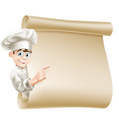 cartoon chef and menu vector image