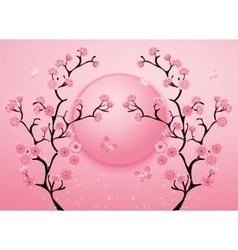 Cherry Blossom Motif Template Vector
