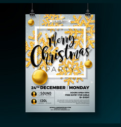 Christmas party flyer with shiny gold vector