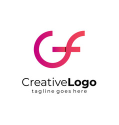 circular initial letter g and f business logo flat vector image