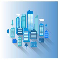 cities blue buidling design vector image