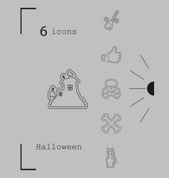 Collection of 6 halloween icons in thin line style vector