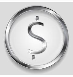 Concept metallic dollar symbol logo vector image