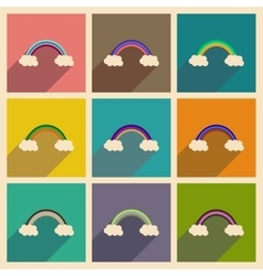 Concept of flat icons with long shadow rainbow vector