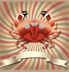 Crab realistic background and silver ribbon vector