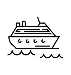 Cruise ship line icon concept sign outline vector