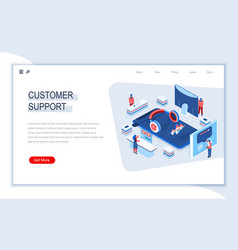 customer support isometric landing page vector image