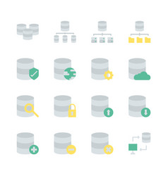 database system icon set in flat design vector image