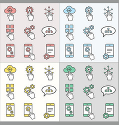 digital interaction flat line icons for graphic vector image