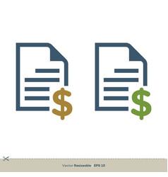 document letter dollar sign logo template design vector image