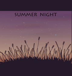 Doodle night landscape under the stars vector