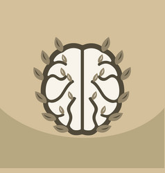 Eco brain with leafs on ecology style with bashers vector