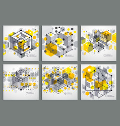 engineering technological yellow 3d wallpapers vector image