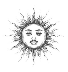 Esoteric emblem sun drawn in vintage engraving vector