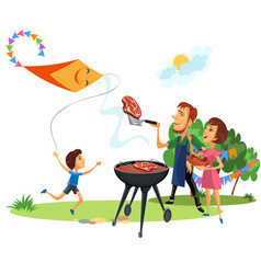 Family picnic at backyard celebration poster vector
