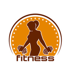 Fitness emblem with training athletic woman vector