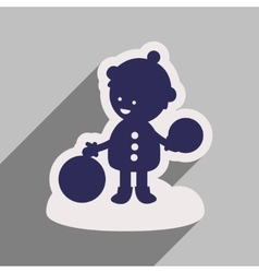 flat icon with long shadow child playing in snow vector image