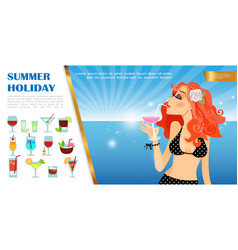 Flat summer vacation template vector