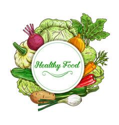 fresh vegetables sketch round frame banner vector image