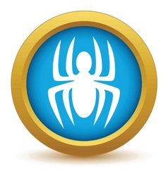 Gold spider icon vector image