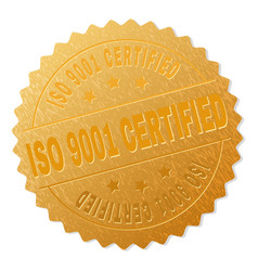 golden iso 9001 certified medal stamp vector image
