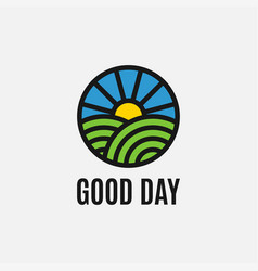 good day emblem with sky sun and grass vector image