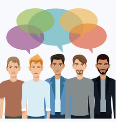 group men communication dialog bubble speech vector image