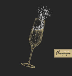 Hand drawing champagne glass with splash vector