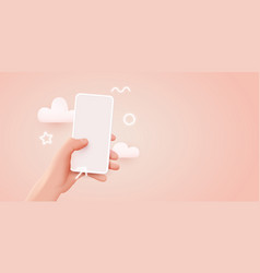 hand holding mobile smart phone with blank screen vector image