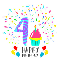 happy birthday card for 4 year kid fun party art vector image