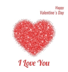 Happy Valentines Day Greeting Card with Red vector image