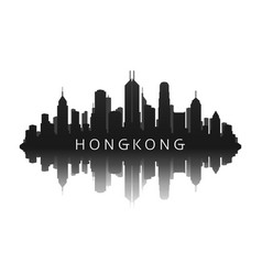 hongkong skyline silhouette in black with vector image